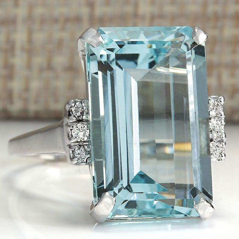 Grosshandel Hot Fashion Luxury Topaz Verlobungsringe Saphir Ringe