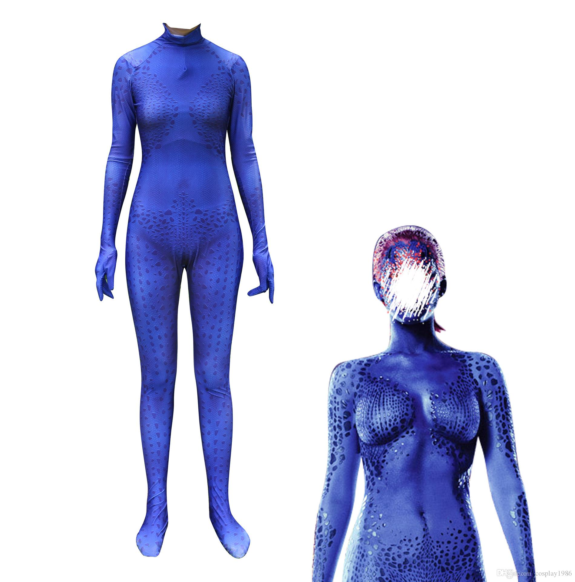 86b4021131291 2019 Cosplay X Men Mystique Raven Darkholme Women Female Costume Halloween  Party Superhero Plugsuit Jumpsuits Suit Catsuit Zentai From Cosplay1986, ...