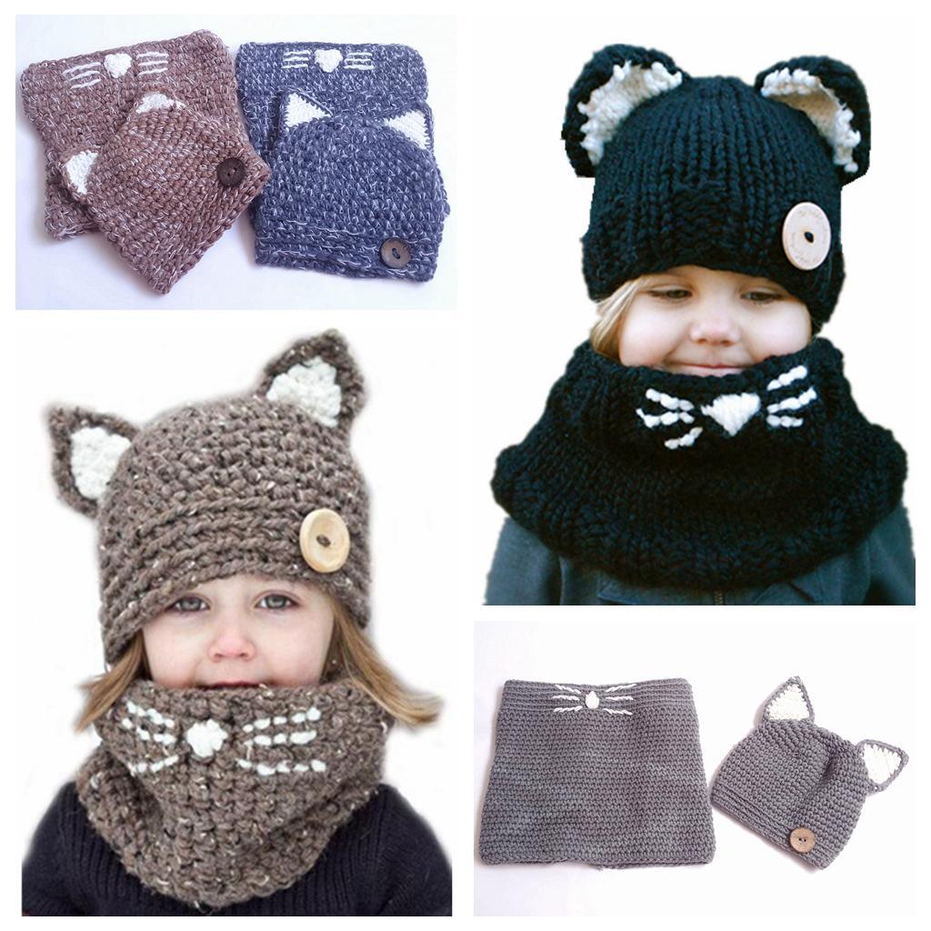2018 Kids Knitted Cap Scarf Set Hat Cat Ears Wool Crochet Cap ...