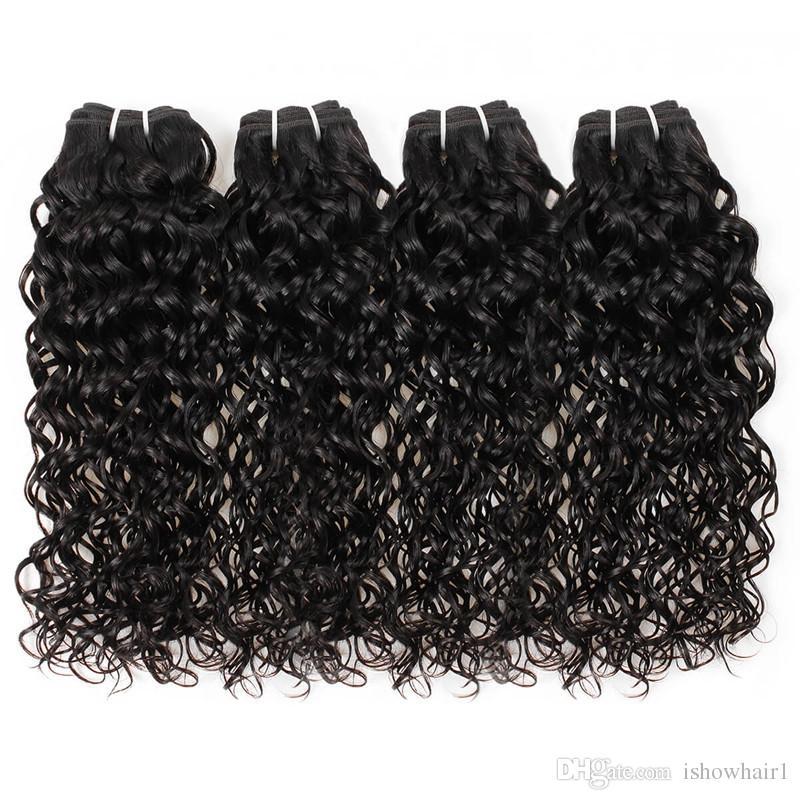 Envío libre tramas indias del cabello humano mejores paquetes brasileños del pelo humano del pelo 10A con la onda de agua del cierre venta al por mayor 4bundles con el cierre