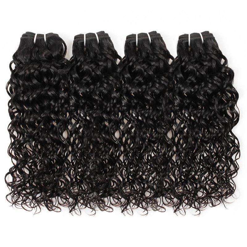 Trasporto libero indiano capelli umani trame migliori 10a capelli brasiliani bundles capelli umani con chiusura onda dell'acqua all'ingrosso 4 pacchi con chiusura