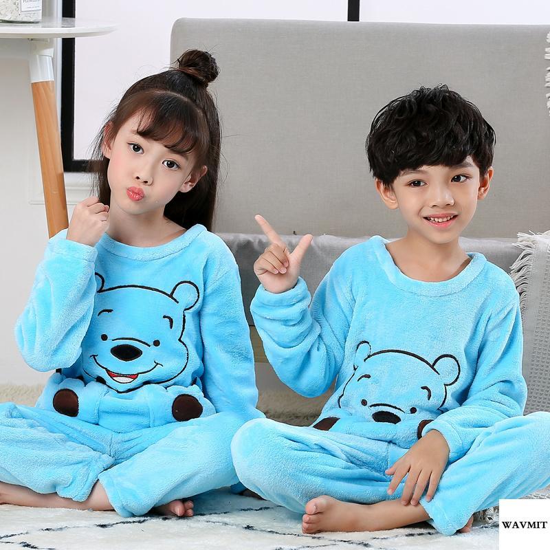 0ea1d03593 Hot Winter Children Fleece Pajamas Warm Flannel Sleepwear Girls Loungewear  Coral Fleece Kids Pijamas Homewear Winter Pyjama Set Y18102908 Pajamas For  Kids ...