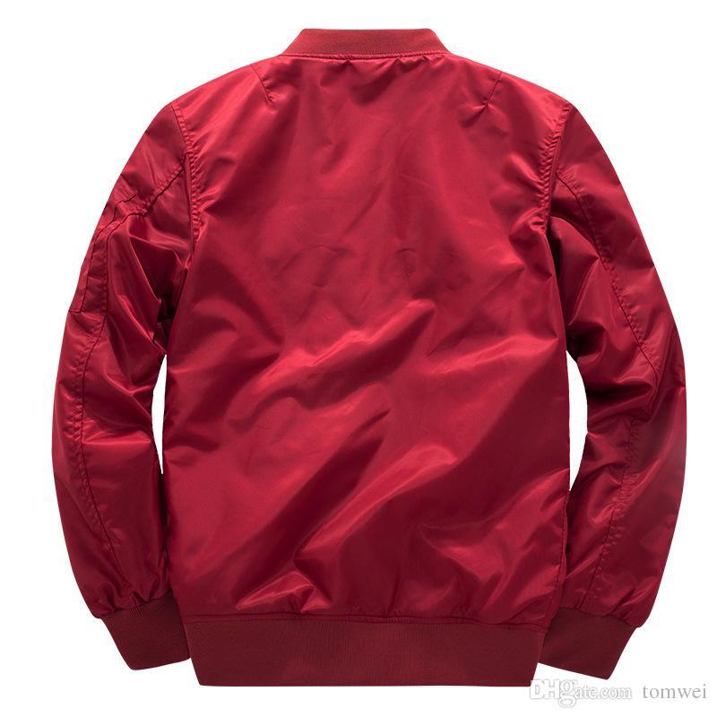 Бренд бомбардировщик куртка ВВС один Ma01 пилот пальто Мужские осень весна куртки и пиджаки плюс размер одежды 2018 4XL Красный хлопок мягкий