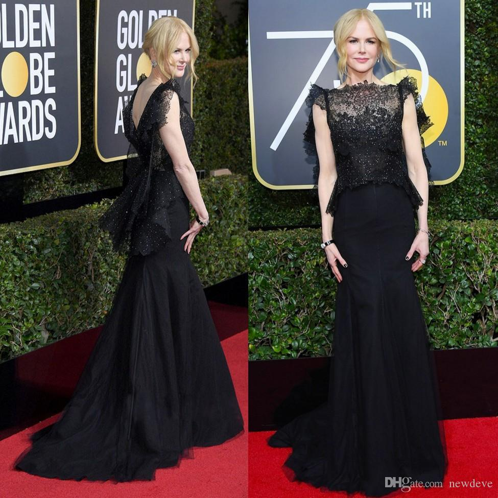 61f32817f87a 2018 Golden Globe Awards Mermaid Prom Dresses Two Pieces Lace Evening Gown  Sheer Bateau Neck Beaded Nicole Kidman Red Carpet Celebrity Dress Purple  Prom ...