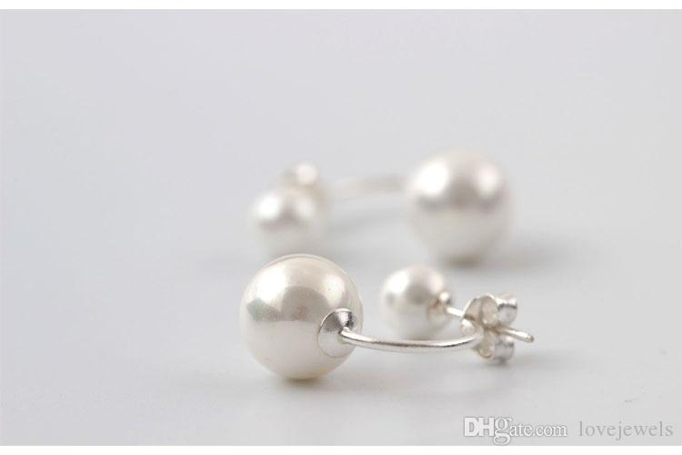designer earrings jewelry fashion 925 sterling silver Double use Shell pearl Red and white female china direct stud earrings korean bijoux