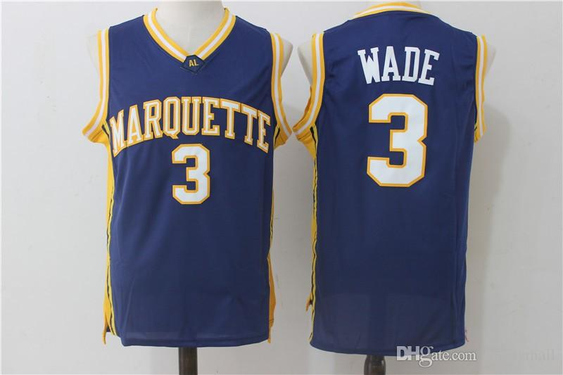 33e0ff95a34 2019 3 Dwyane Wade College Jerseys Stitched Marquette Jersey University  Navy Blue Cheap Mens Basketball Jersey Wholesale From Sprotsmall
