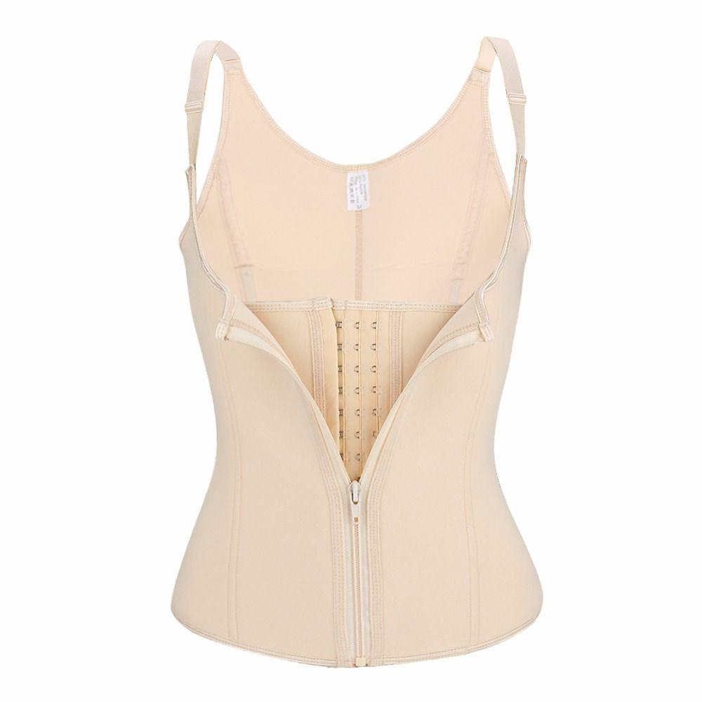 Yumdo Women Underbust Neoprene Corset Zip Hook Waist Trainer Cincher 6 Steel Boned Body Shaper Vest Adjustable Straps Shapewear