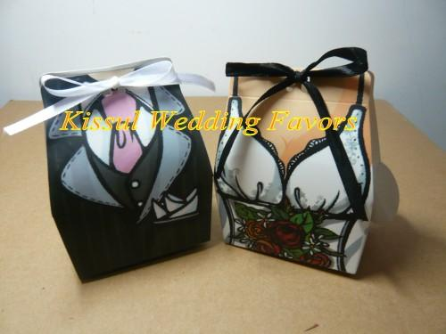= Bride and Groom Wedding gift box of TUXEDO and DRESS candy box For Party Favors and Bridal shower gift