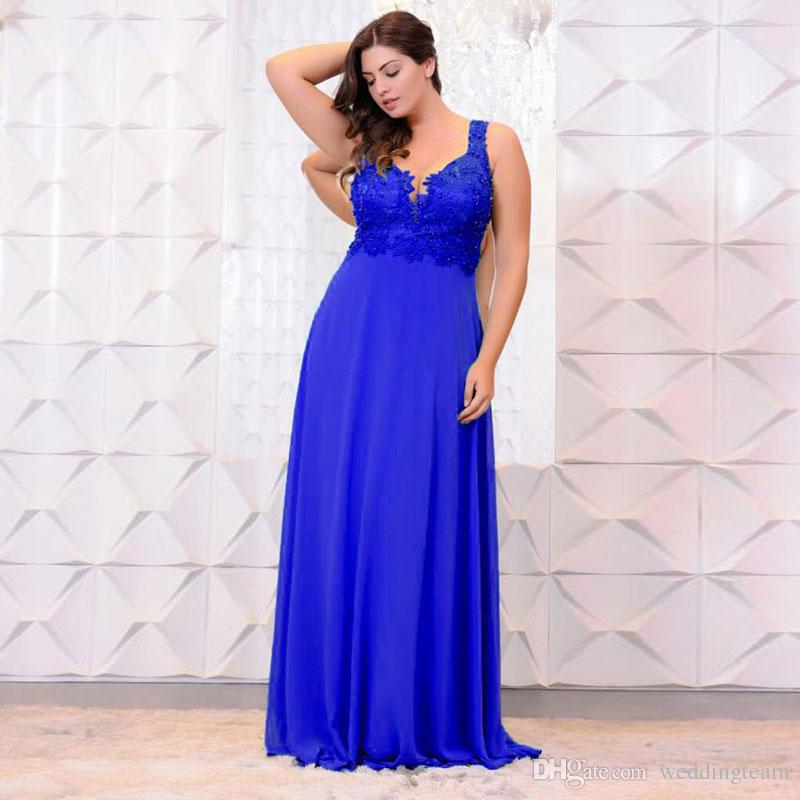Royal Blue Beaded Plus Size Prom Dresses V Neck Lace Appliqued