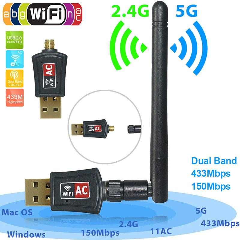 Großhandel 600 Mbps Dual Band 2.4g / 5g / 5.8g Drahtloser Usb Wifi ...