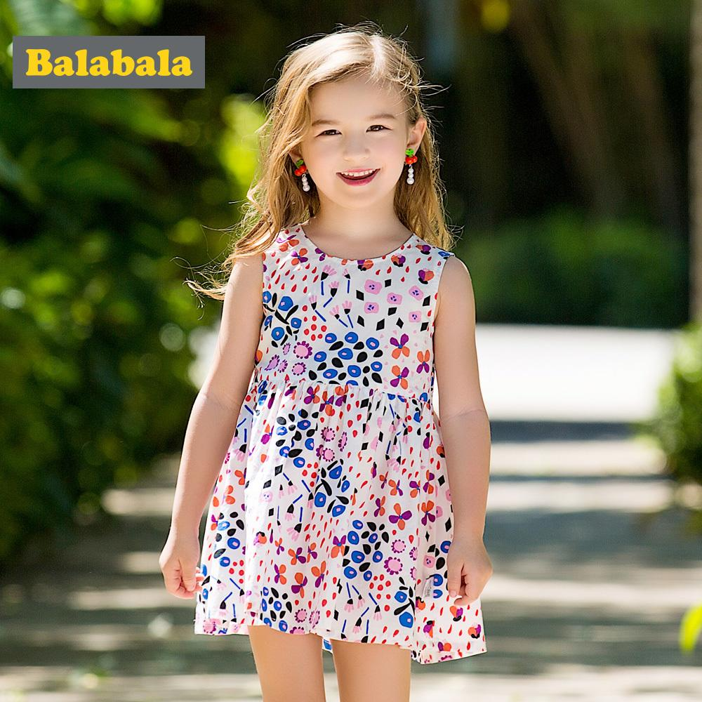 b487a6cb7b008 2019 Balabala Girls Floral Dresses Cute Cotton Sleeveless Dress For Baby  Girl Children Clothing Costume Girl Dresses 2018 For Summer Y1892112 From  ...
