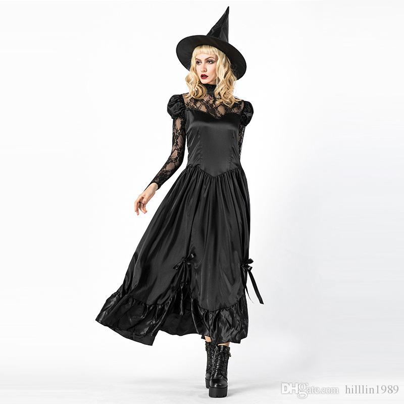 e257d694237 Sexy Vintage Halloween Witch Costume for Women Black Long Sleeve Sorcerer  Fancy Dresses Cosplay Uniform Carnival Outfits
