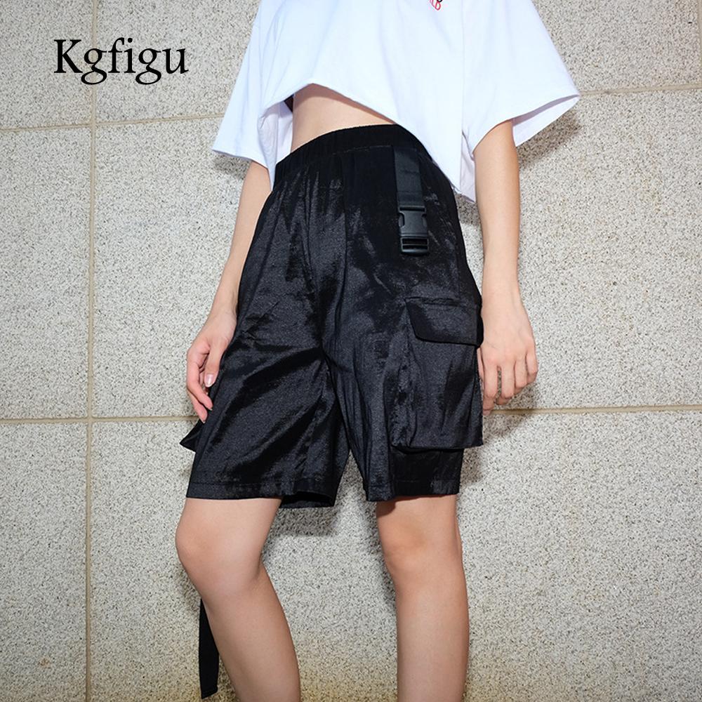 474302db3 KGFIGU Women Shorts 2018 Pantalones cortos sueltos de talle alto Sexy  streetwear negro Medias largas ocasionales Pantalones Bottom