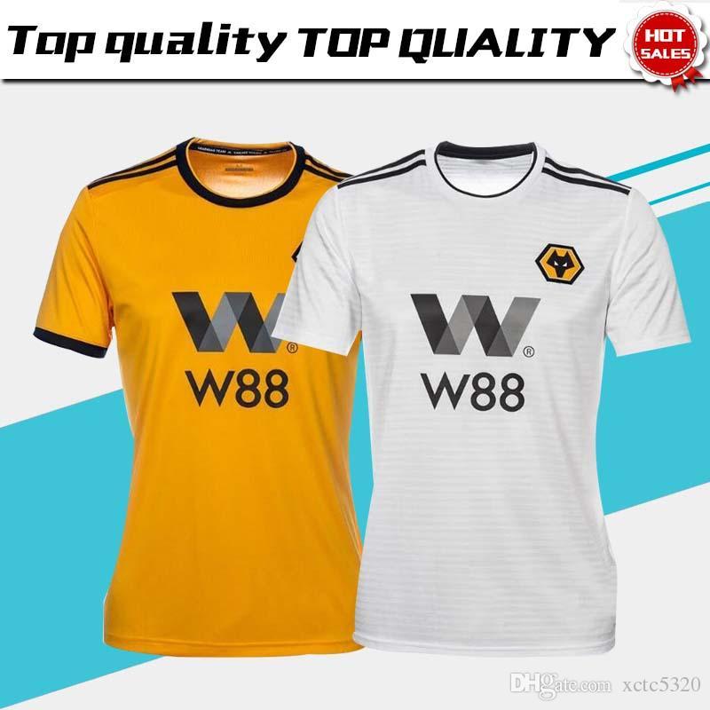 6b1aff7aa 2019 2019 Wolverhampton Wanderers Soccer Jersey Home Yellow 7  CAVALEIRO 18   JOTA  5 BOLY  33 LEO 18 19 Away White Wolverhampton Football Shirts From ...