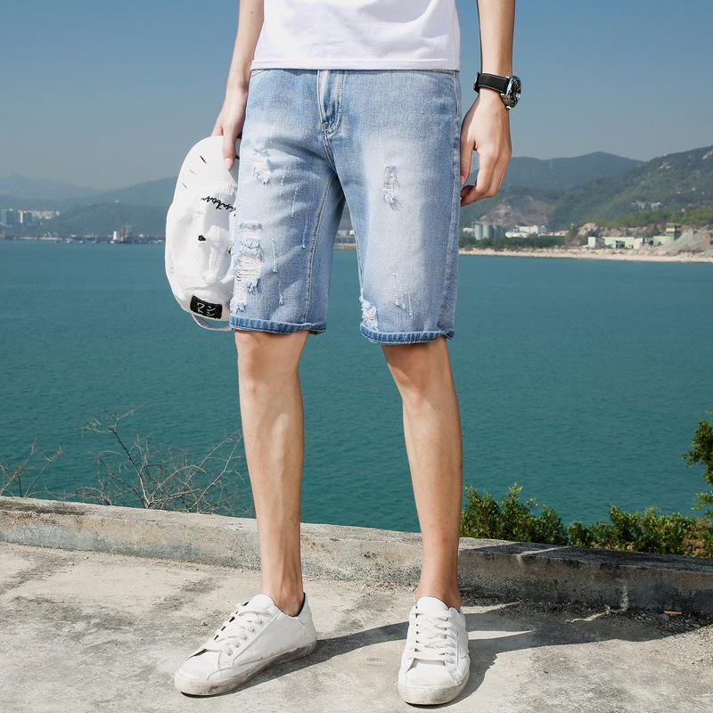 654ee557d92 2019 Korean Version Hole Cat Beads Five Points Jeans Shorts Men S Fashion  Style Summer Men S Five Pants Personal Ripped Men Jean Shorts From Insino