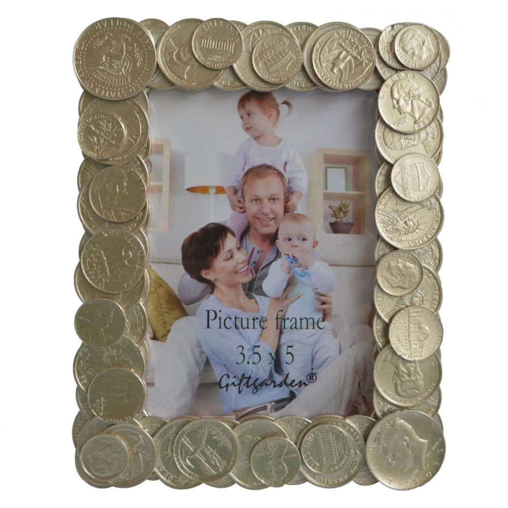 Best Decorative Picture Frame Gold Coins Edging Photo Frames Family ...