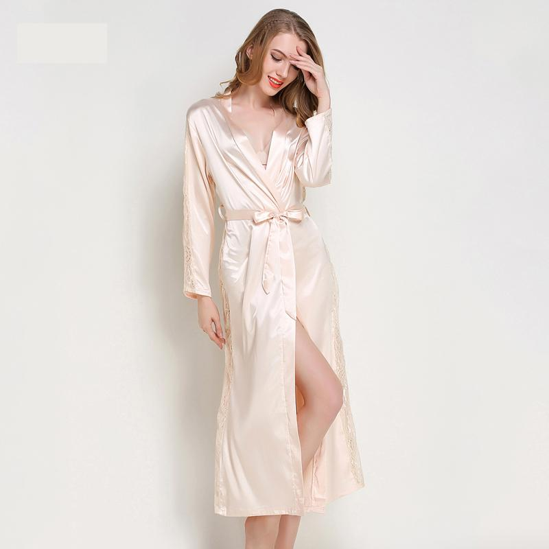 bb6183f09f 2019 Chiffon Robes With Lace Femme Sexy Satin Silk Long Robe Bathrobes  Kimono Women See Though Vintage Bridesmaid Plus Size Sleepwear From  Erzhang