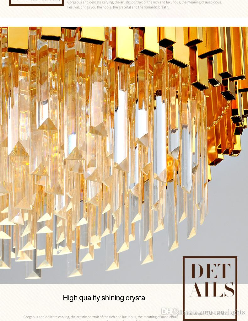 LED Modern Crystal Chandelier American Gold Crystal Chandeliers Lighting Fixture Round Shining Home Indoor Light Hotel Lobby Hanging Lamp