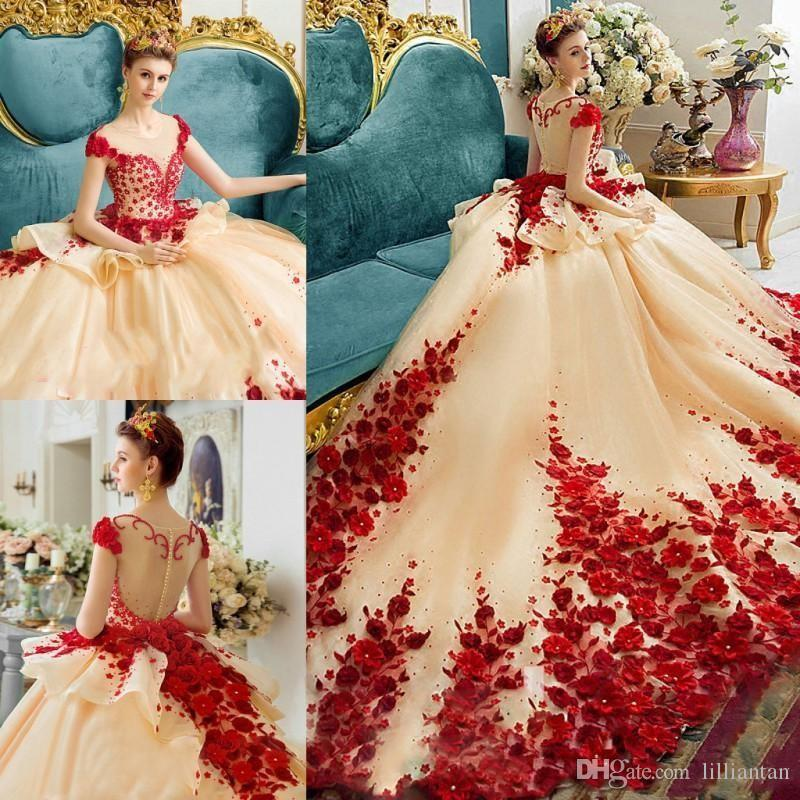 Most Beautiful Ball Gown Wedding Dresses: 3D Applique Handmade Flowers Ball Gown Quinceanera Dresses