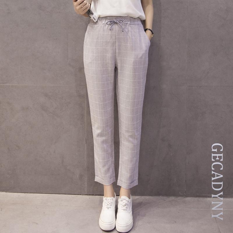 890d22fe0a7 2019 Summer New Fashion Cotton Linen Women S Pants Loose Elastic Waist  Harem Pants Female Large Size S 3XL Grid Casual Capris Pockets From  Cactuse