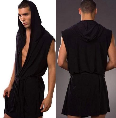 Summer Mens Sexy Hooded Robes Sleeveless Ice Silk Pajamas Plus Size 4xl Men lounge kimono sleepwear Sexy Smooth Bathrobe Black