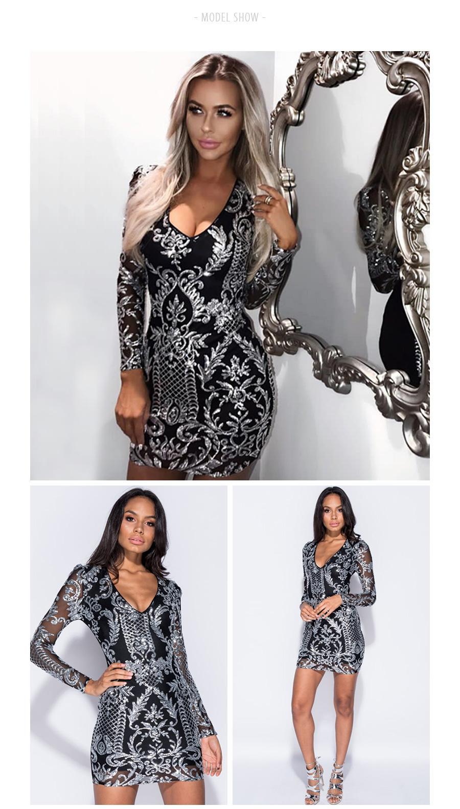Colysmo sexy lantejoula dress preto prata bodycon party dress manga comprida vestido de inverno mulheres vestidos de natal vestido de festa novo
