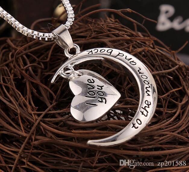 الهلال القمر القلب سحر قلادة أنا أحبك إلى القمر والعودة قلادة المعلقات العتيقة الفضة للمرأة المجوهرات هدية الاكسسوارات جديد