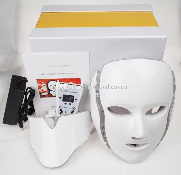 7 색 PDT LED 라이트 테라피 LED 얼굴 목 마스크 LED 마스크 피부 미백 Microcurrent와 마스크 무료 배송
