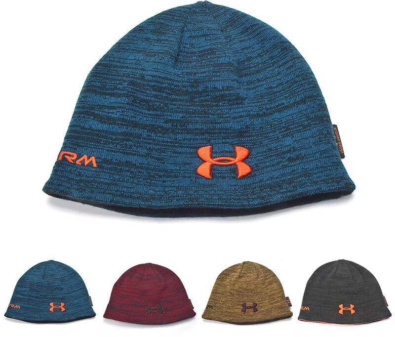 08c1fa7761d87 2019 Unisex U A Beanie Reversible Knitted Hats Under Winter Fleece Skull Cap  Fedora Double Sided Wear Hat Armor Beanies Men Women Warm Caps Best From ...