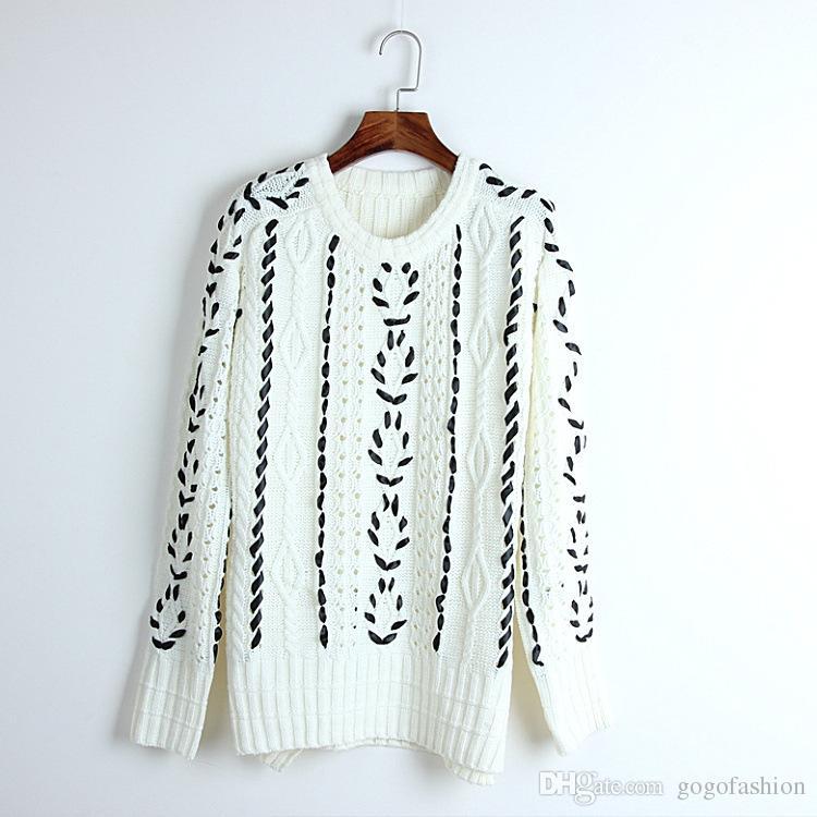 Compre 2018 Primavera Verano Animal Print Suéter Blanco Gris De Manga Larga  Con Cuello Redondo Marca Same Style Sweater Pullover DL A  60.29 Del  Gogofashion ... 30e45dcaffb8