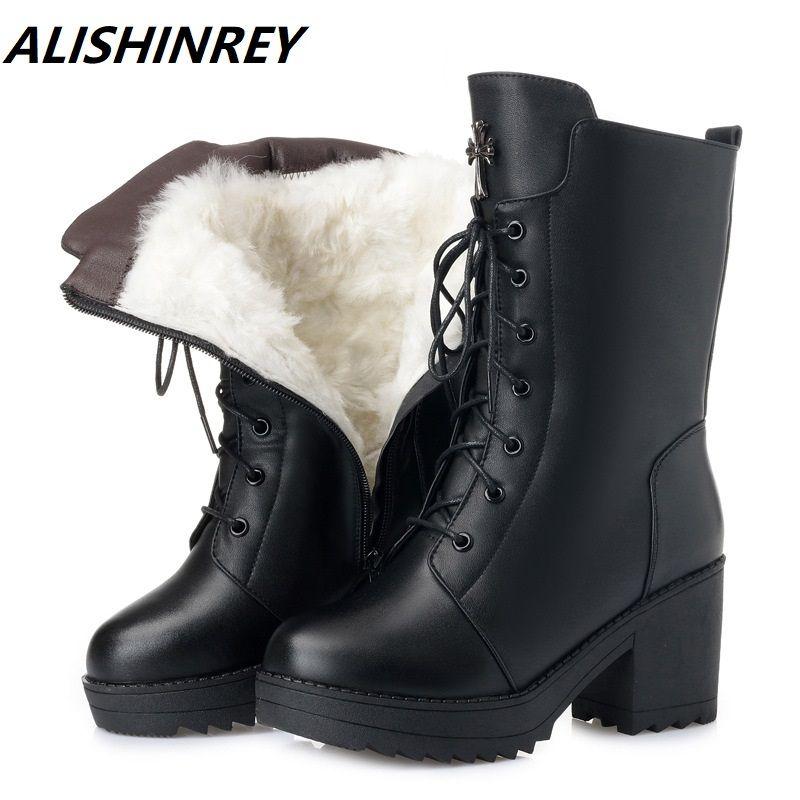 c51cc75cb Compre Botas De Invierno De Mujer Botas De Cuero Genuino Botas De Mujer De  Tacón Alto De Lana Larga Forrada Nieve Cálida Dama Zapatos De Moda Botas A   80.43 ...