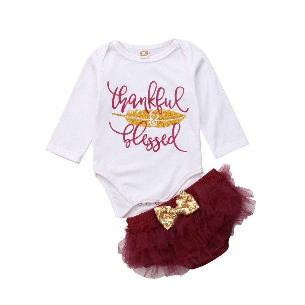 f4f1077ade24 Newborn Infant Baby Girl Cute Thanksgiving Clothes Sets 2PCS Long Sleeve  Print Romper Tops+Lace Tutu Shorts