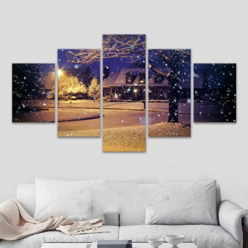 Malerei Rahmen Kunst Poster Schnee New York Dekoration Wand 5 Panel Weihnachten Modulare Bild Home Druck Auf Leinwand Fur Wohnzimmer