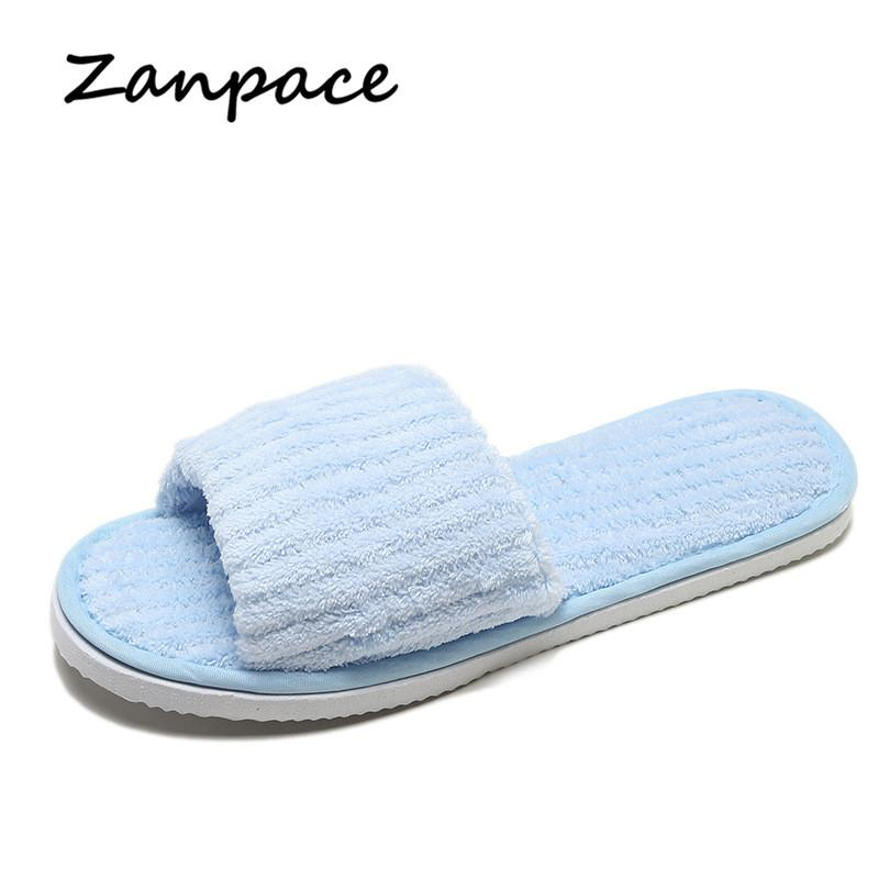 Zanpace New Fur Slippers Indoor Women Home Flip Flops Winter Ladies ... 55b7bf5fa4ad