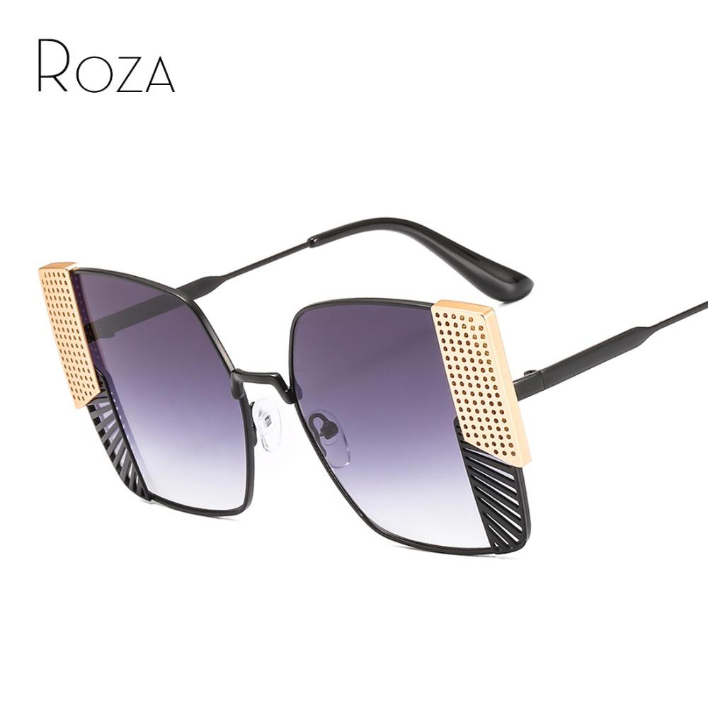 e585941a2e9d5 Compre ROZA Óculos De Sol Das Mulheres Moda Moderna Decoração De Metal Olho  De Gato Do Vintage Grande Tamanho Senhora Azul Rosa Gradiente Óculos De Sol  ...