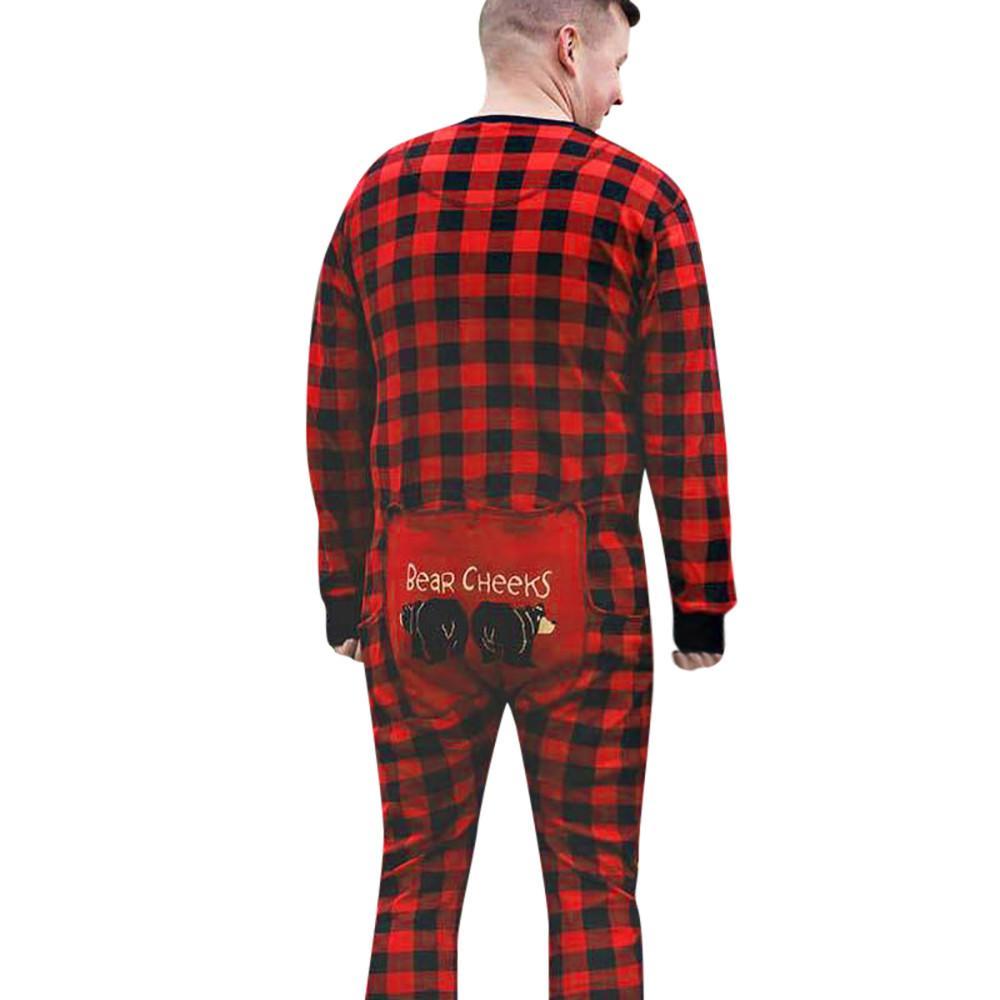9aa4947613 2019 Long Sleeve Men Family Lattice Jumpsuit Men Kid Adult Sleepwear  Nightwear Romper Drop Shipping From Duixinju