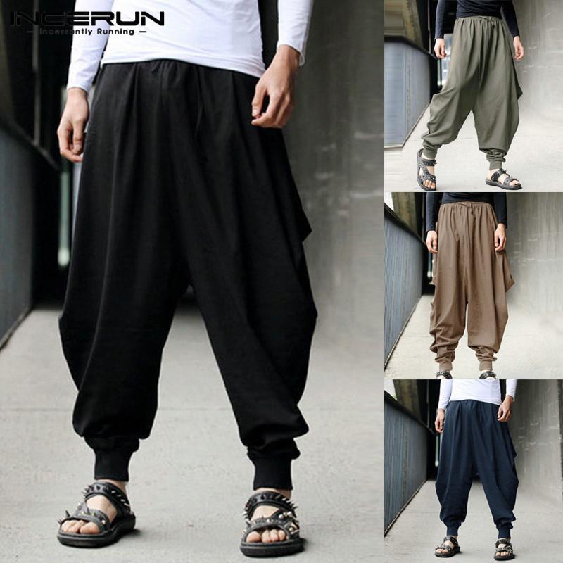 Acheter Pantalon Sarouel Pour Homme Pantalon Large En Coton Joggeurs  Décontractés Streetwear Pantalon Pantalon Pour Hommes Pantalon Décolleté  Pour Hommes