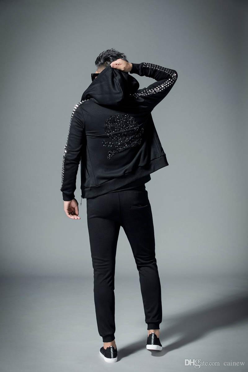389254ba237d Großhandel Trainingsanzug Mode Applique Männer Set Herbst Pp Männlichen  Casual Slim Langarm Sportswear Anzug Reißverschluss Baumwolle Hoodie  Sweatshirt + ...