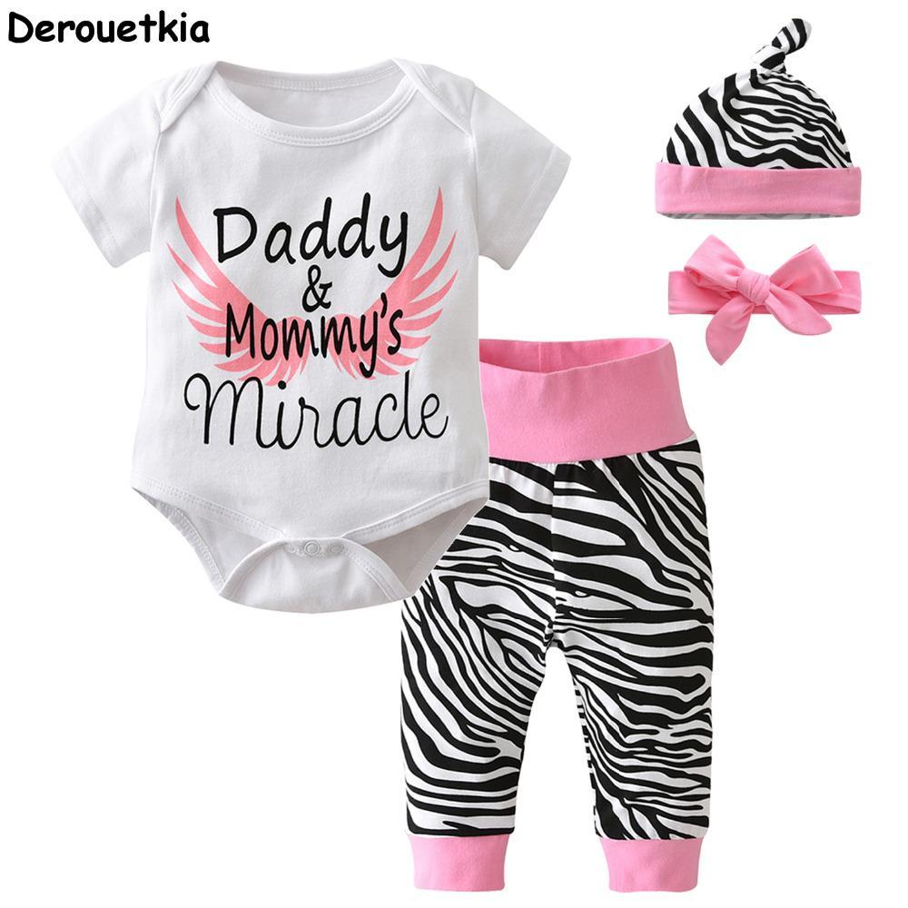 006aa1fa45dc2d 4pcs nouveau-né nourrisson bébé filles vêtements à manches courtes blanc  haut de bodys pantalon zèbre bandeau capuchon tenue de bébé
