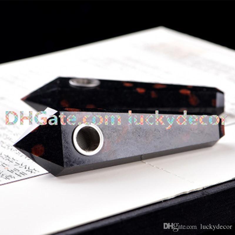 Garnet Healing Orgnite Pencil Point Wand Stick Pipe Genuine Natural Black & Red Garnet Quartz Crystal Smoking Pipes Tobacco Wand & Screen