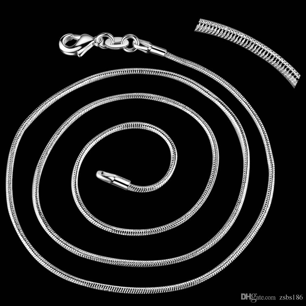Wholesale DHgate 925 Sterling Silver Plated 1MM Snake Chain Necklace 16-24inches