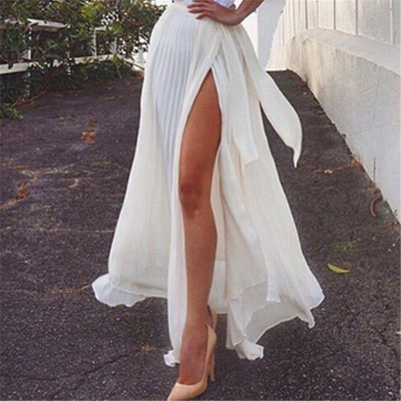 a09889ca85af50 2019 Litfun 2018 Summer Vintage Bohemia Chiffon Skirt Women Split Boho Long  Maxi Bow Tie Waist Tulle Sexy Beach White Pleated Skirts From Ppkk, ...