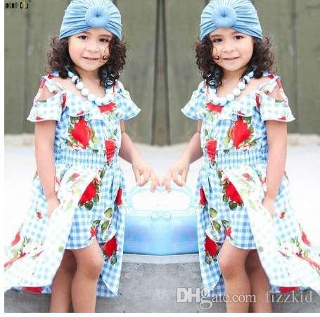 2e7166973 Compre Niñas Vestido De Flores Ropa Para Niños Irregular Sin Tirantes Princesa  Vestidos A Cuadros Ropa Para Niños 3 4 5 6 7 8 9 10 11 12 Años A  27.59 Del  ...