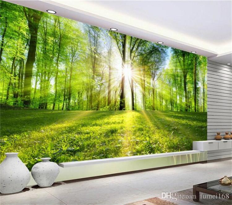 Großhandel Benutzerdefinierte Wandbild Tapete Sonnenschein Wald Natur  Landschaft Wandmalerei Wohnzimmer Tv Hintergrund Tapeten Wohnkultur Tapete  Von ...