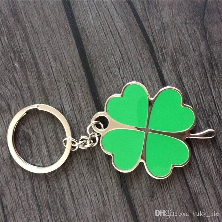 20 قطع كوريا البرسيم الحلي الإبداعية الأخضر البرسيم المفاتيح عشاق المعادن مفتاح قلادة هدية صغيرة