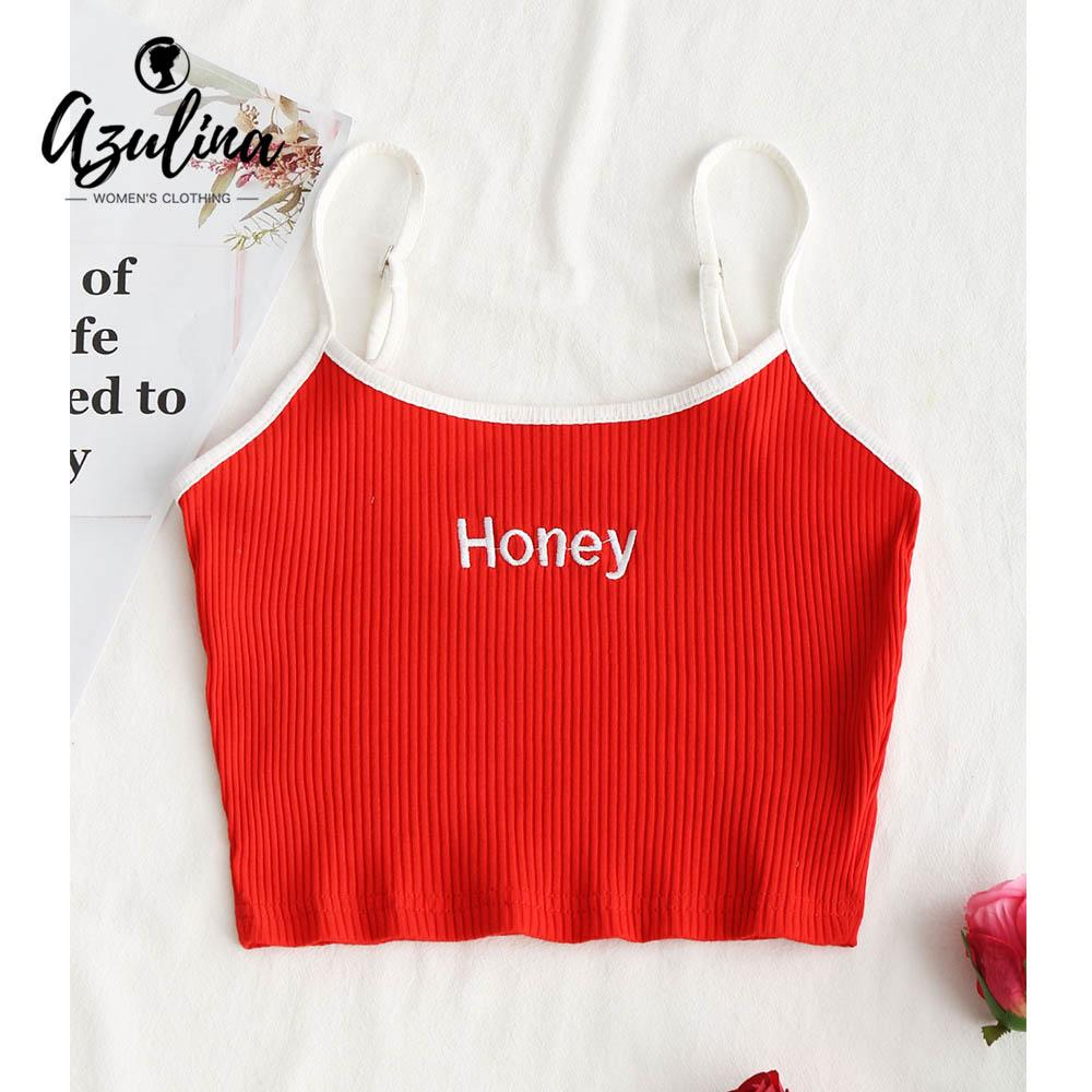 d9636ab5475892 2019 20187 AZULINA Honey Embroidered Ribbed Cropped Tank Top 2018 Summer  Casual Cute Halter Sleeveless Cropped Top Sexy Girls Tops Bralette From  Huang01