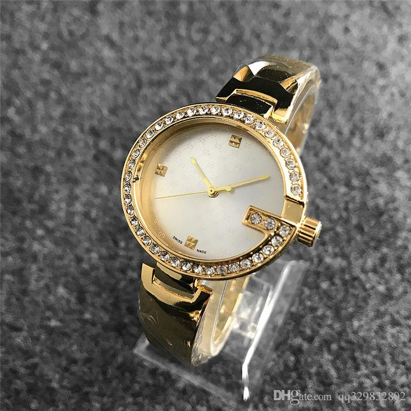 df47c62657f Compre Relogios Montre Diamante Pulseira Top Famosa Marca De Moda Senhoras  Relógio De Ouro Designer De Luxo Mulheres Relógios Vestido Relógios De Pulso  ...
