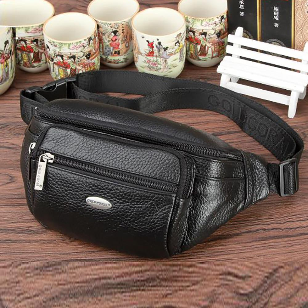 ab58aba6812a Men Genuine Leather Sling Chest Waist Bag Real Cowhide Shoulder Cross Body  Bags High Quality Casual Hip Bum Belt Fanny Pack