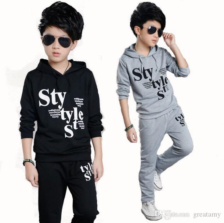 Kids Clothing Children Suits Baby Boy S Hooded STYLE Printing Tops+Pants  Clothes Suits Big Kids Spring Letter Outfits UK 2019 From Greatamy 9afdaa5eecc9