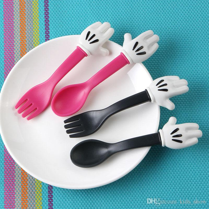 cute Baby Feeding Fork and Spoon Cartoon Lovely Palm Baby Flatware Feeding Spoon Toddler Dinnerware Kids Learning Eat